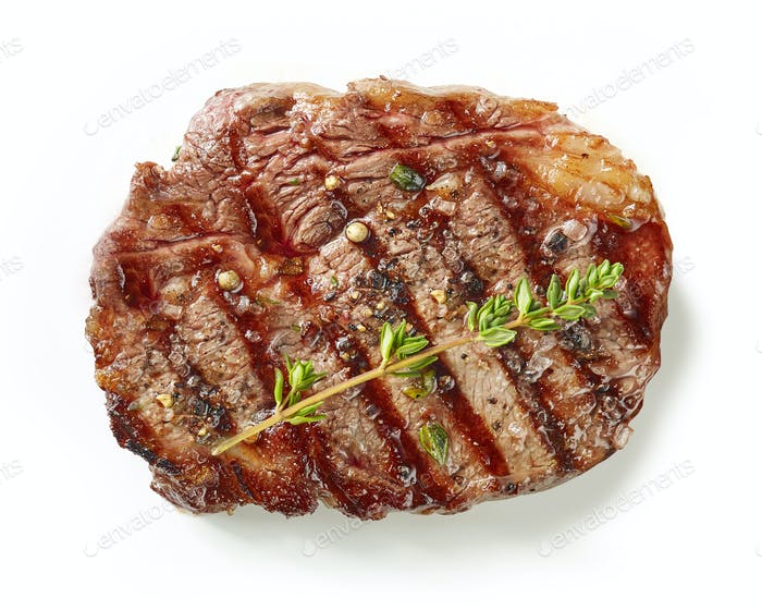gegrilltes Steak auf weißem Hintergrund