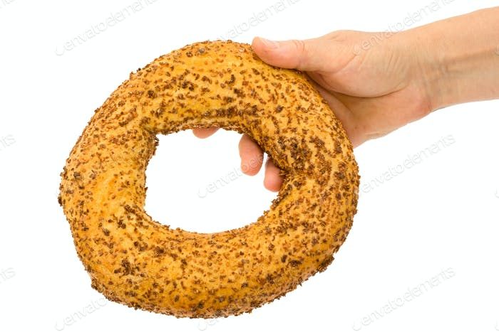 Female hand holding fresh bagel, isolated on white background