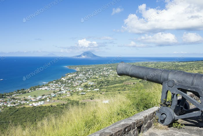 Canon on the ruins of Brimstone Fortress in St Kitts