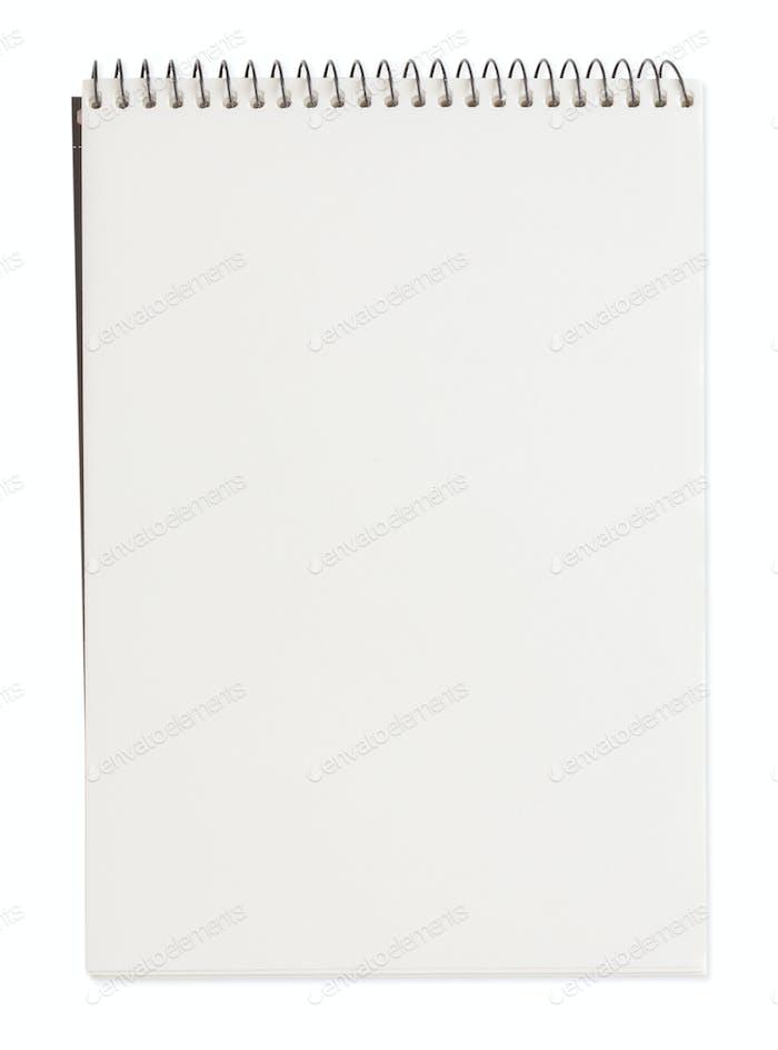 Closed new white notebook. Studio shot