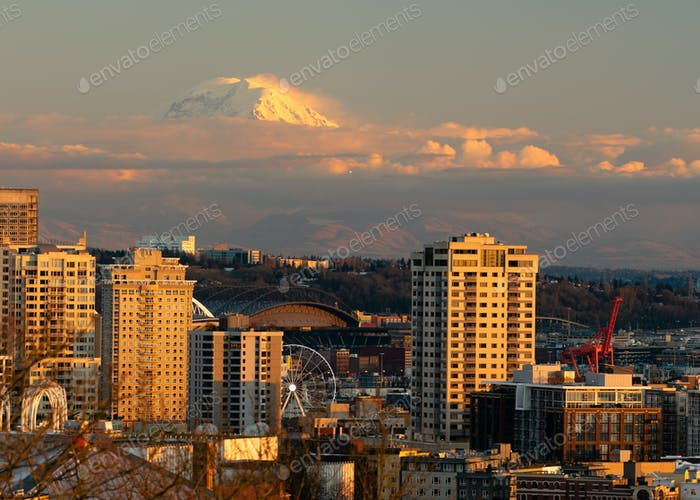 Fighter Jet Flies Over Seattle in the Distance during Mount Rainier Sunset