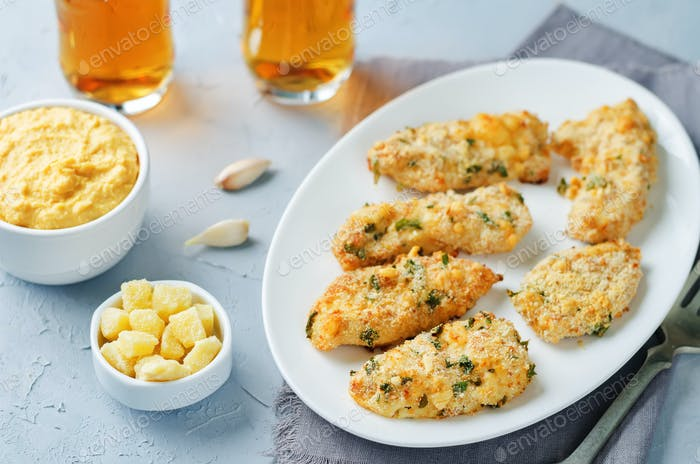 Baked Parmesan Parsley Crusted Chicken with rice