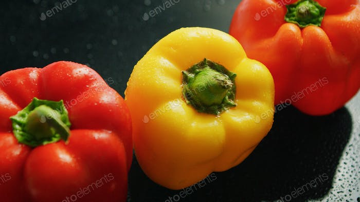 Ripe red and yellow peppers