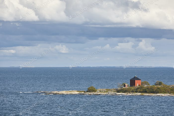 Finnish coastline landscape with islands. Baltic sea. Aland archipelago. Finland