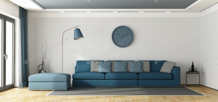Blue sofa in a white lounge