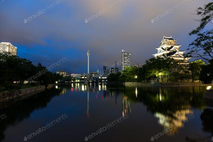 Beautiful Hiroshima castle at night