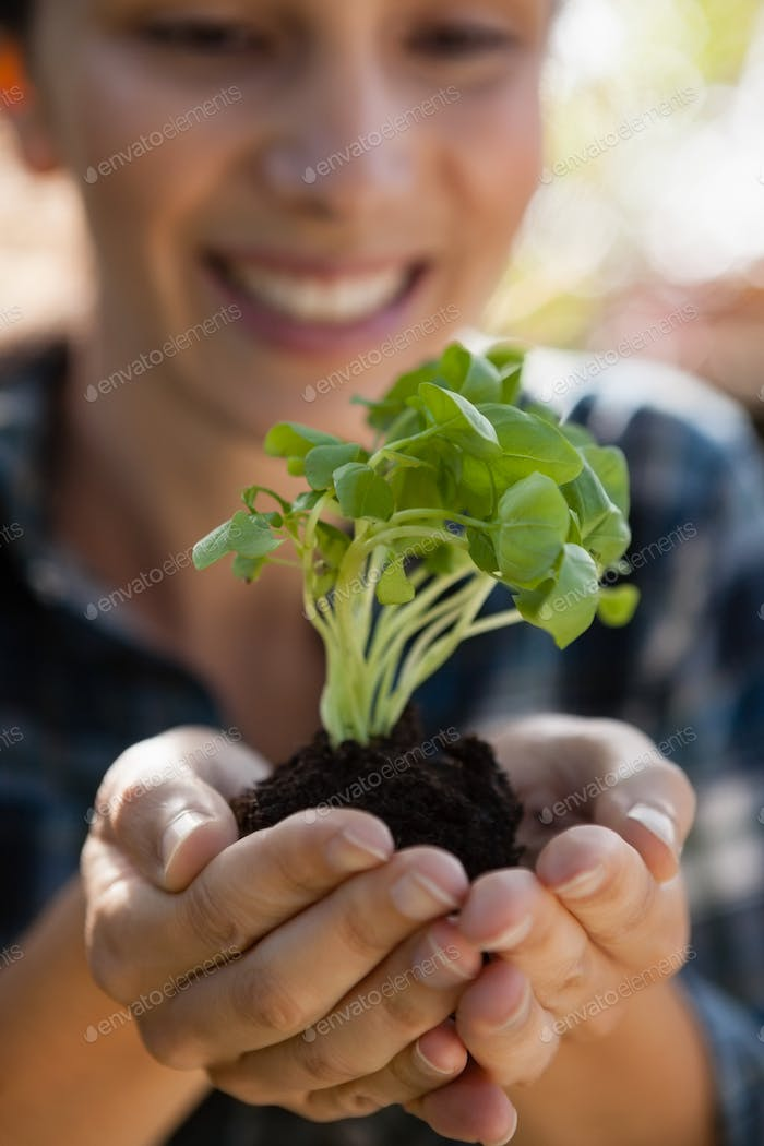 Close-up of smiling young woman holding seedling