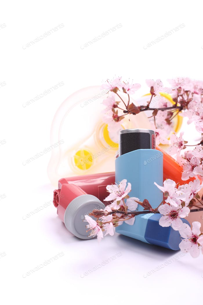 Asthma inhalers with extension tube for children and blossoming tree branches over white
