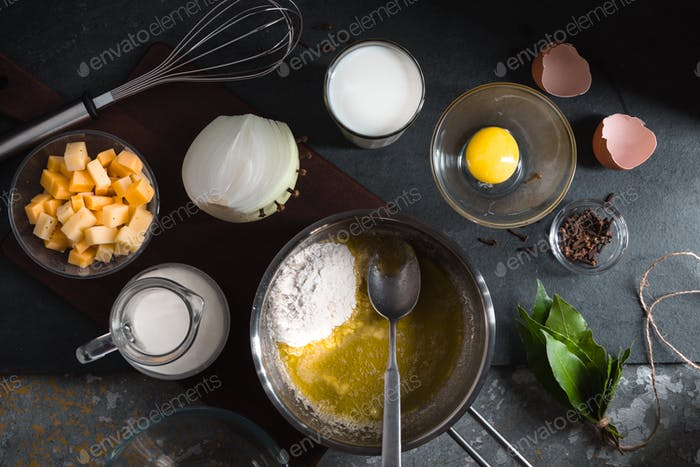 Cheese, egg and flour for cheese sauce mornay