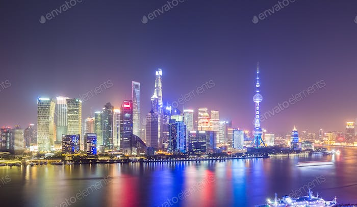 night scene of shanghai skyline, view from north the bund