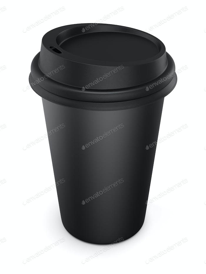 Einwegbecher aus schwarzem Kunststoff mit Deckel. Tasse für Kaffee. Isolieren
