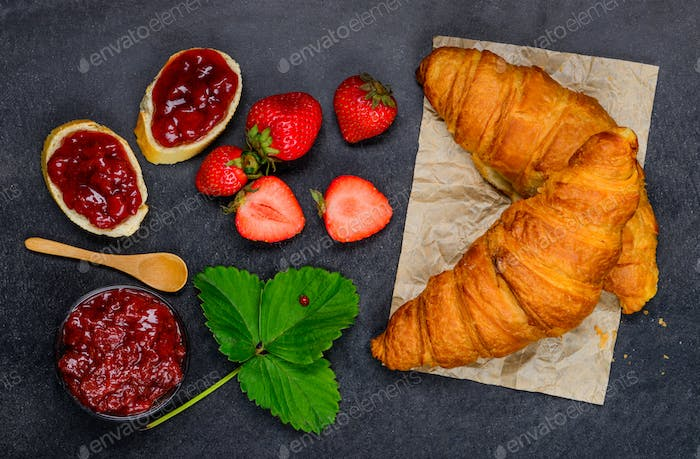 Croissant, Bread and Strawberry Jam