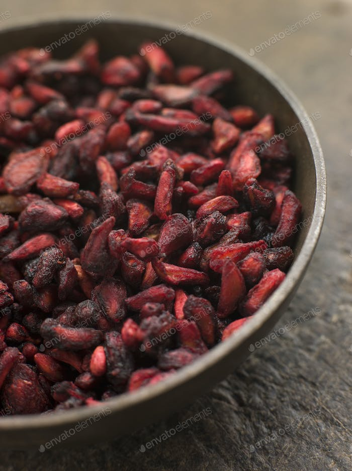 Dish of Dried Pomegranate Seeds