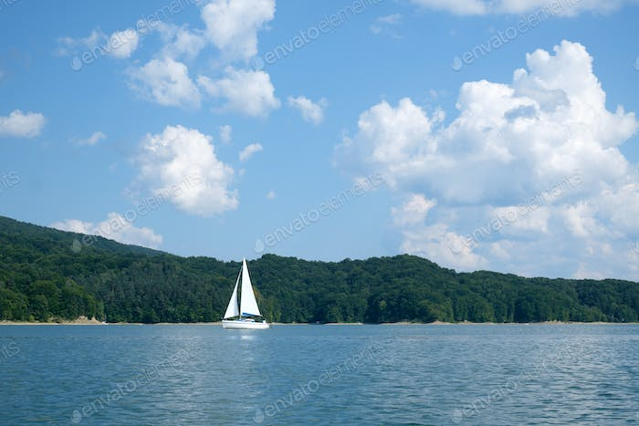 White yacht on Solina lake