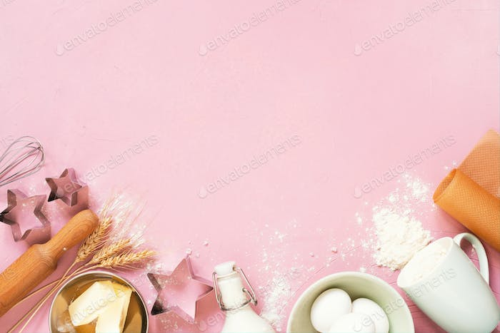 Baking Ingredients on the Pink Table