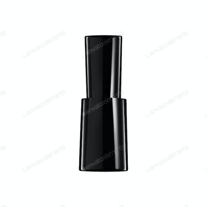 black nail polish bottle on white background