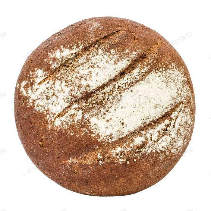Bread with appetizing crunchy crust, top view, isolated on white