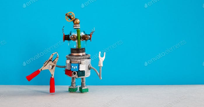 Funny robot serviceman with red pliers. Fixing maintenance concept.