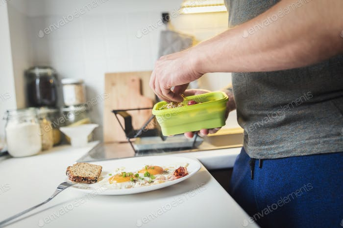 A person preparing a healthy breakfast