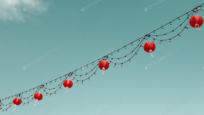 Chinese lanterns in the sky