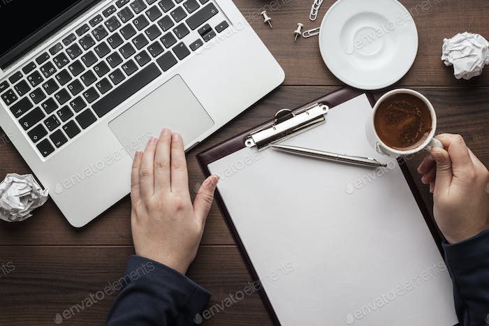 businesswoman at the office table with computer