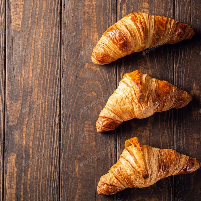 Freshly baked sweet croissants