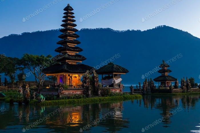 Pura Ulu Danau Bratan Temple in Bali. Early morning, sunrise, twilight, nobody