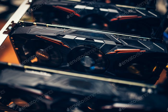 Close up details of graphics cards on cryptocurrencies mining rig. Modern technology
