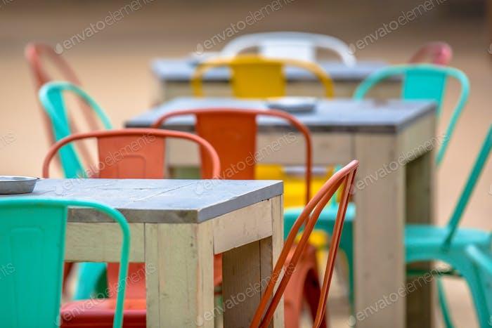 Colorful Restaurant terrace