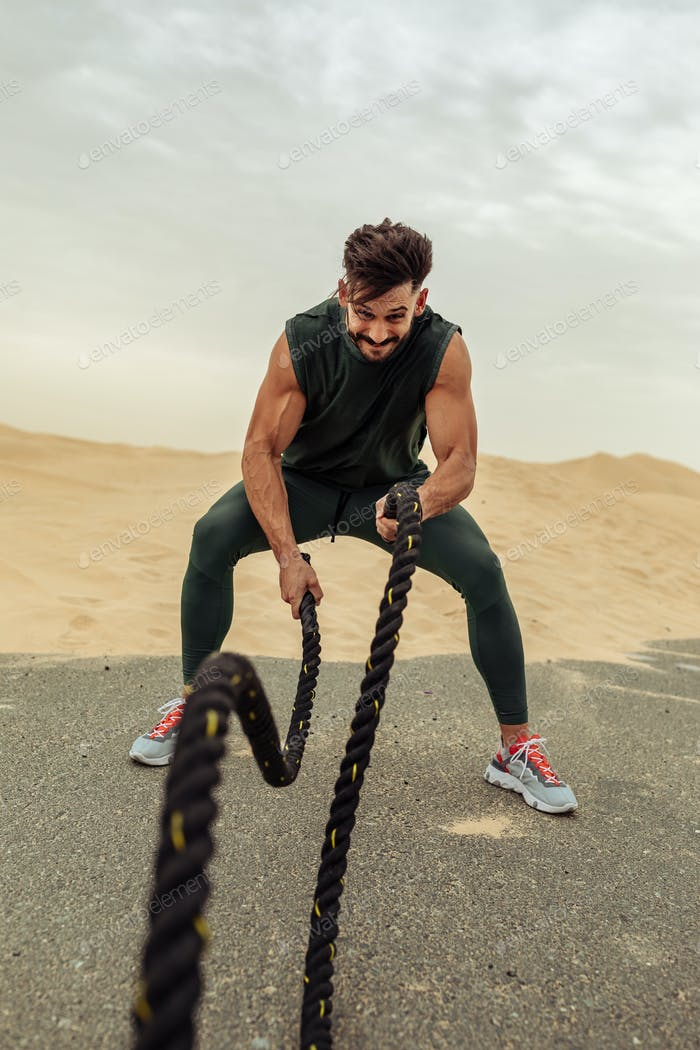 Building muscles with battle ropes