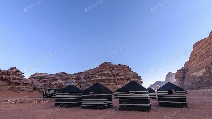 Bedouin tents in the Wadi Rum desert wilderness in southern Jordan.