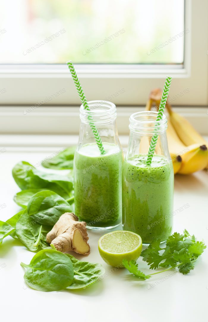 healthy green spinach smoothie with cilantro lime banana ginger