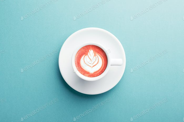 Cappuccino with Creative Color of Latte Art.