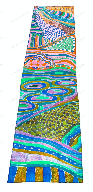 obige Ansicht von Schal in Batik-Technik gemalt