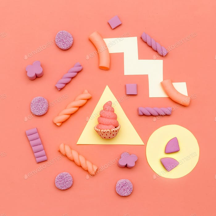 Candy Minimal  vibes. Fashion Flatlay art. Sweet lover Concept
