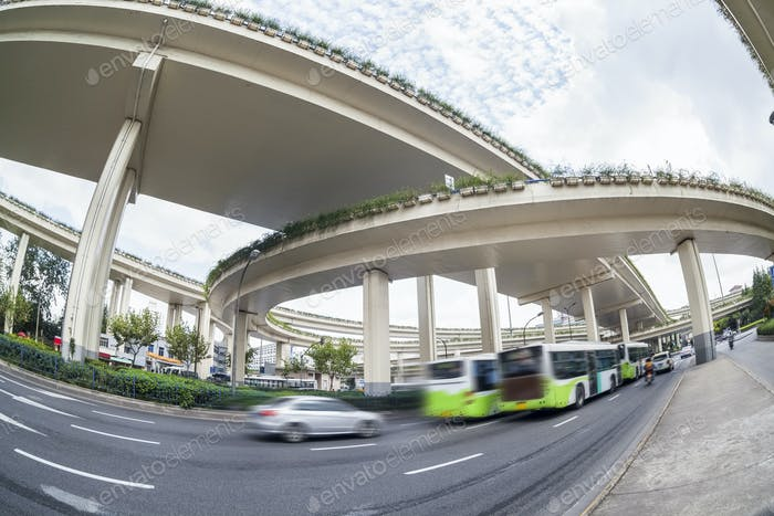 city overpasses , fisheye view