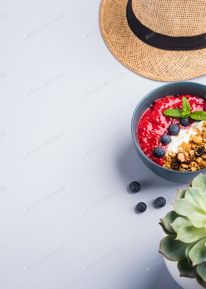 Yogurt bowl with raspberries and granola