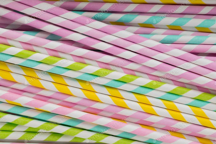 Colorful drinking straws for smoothie.