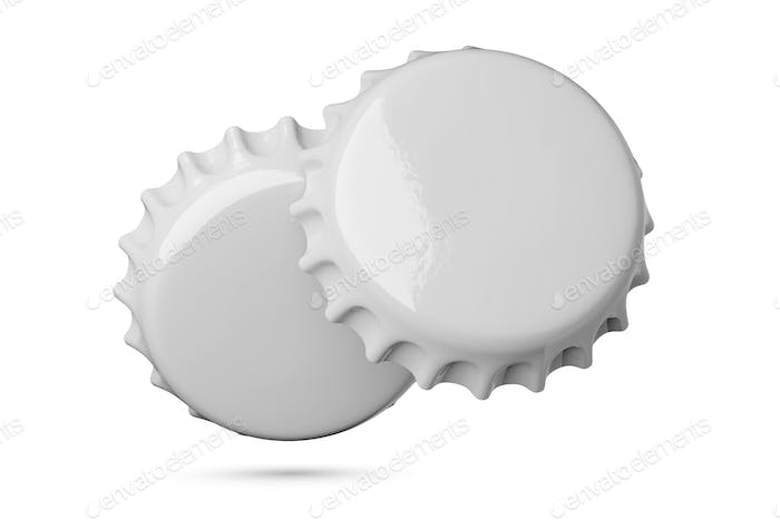 Two gray metal soda or beer caps isolated on white background.