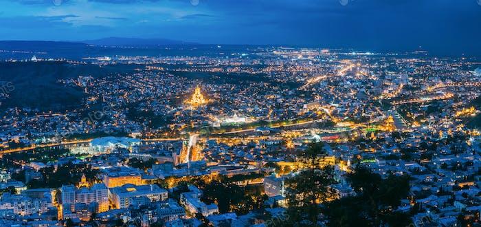 Tbilisi Georgia. Scenic Panoramic Top Field Of Vision. Cityscape