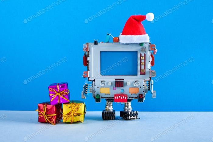 Robotic computer Santa Claus red hat and gift boxes.