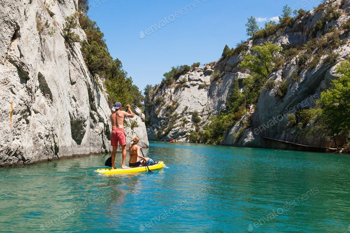 People doing standing paddle in  Gorge du Verdon canyon river in