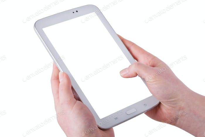 Tablet in women hands on a white background