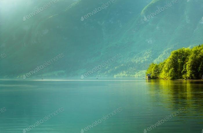View of bohinj lake in julian alps slovenia