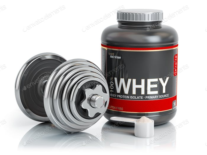Whey protein powder  with scoop and dumbbell.Bodybuilder nutriti