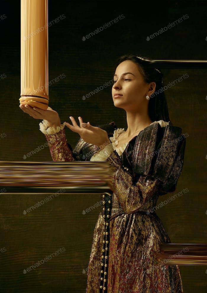 Medieval young woman as a duchess, creative design, art vision