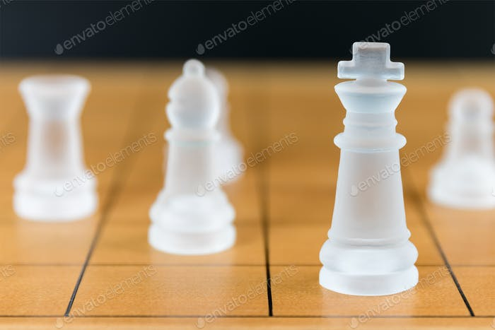 Chess glass on a wood chessboard_-13