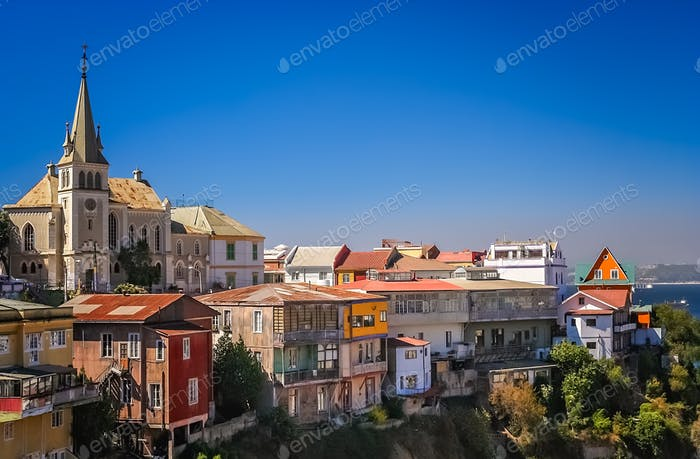 Church above hillside homes in Valparaiso