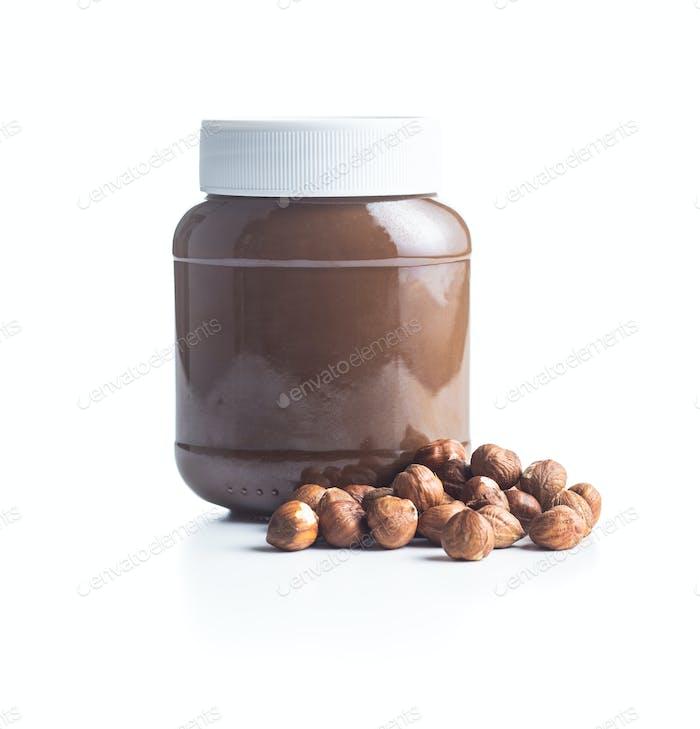 Hazelnut spread. Nut chocolate cream.