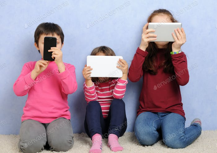 children with devices